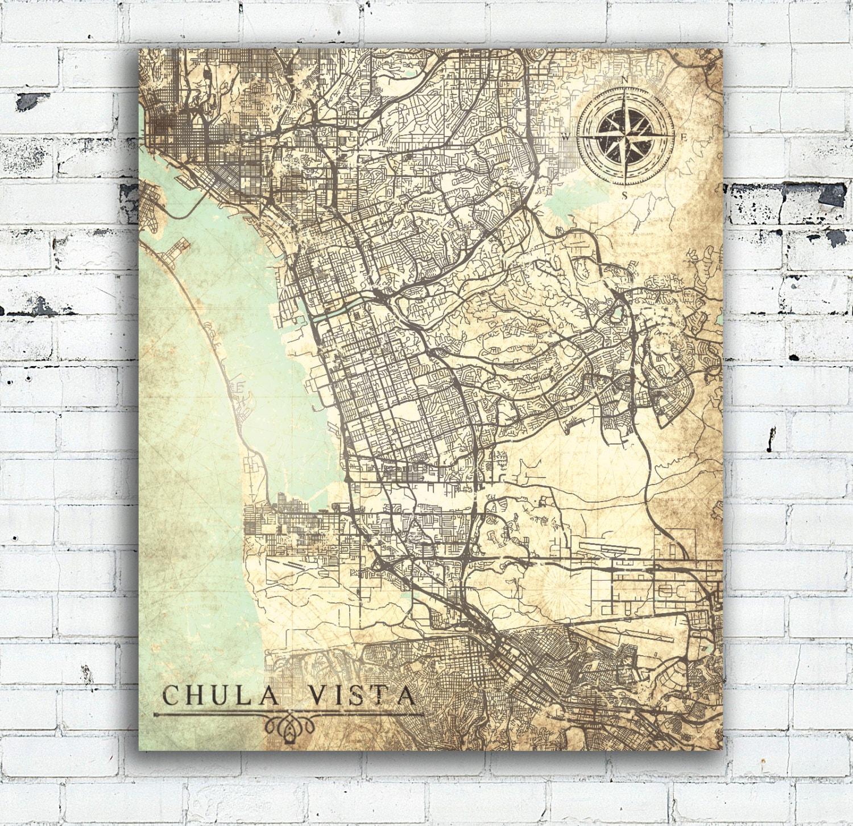 CHULA VISTA CA Canvas Print California Ca Vintage map Chula Vista Ca on