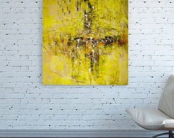 CANVAS PRINT Square Abstract Yellow Colorful artwork wall art antique old abstract Wall art painting abstract Wall art Yellow abstract print