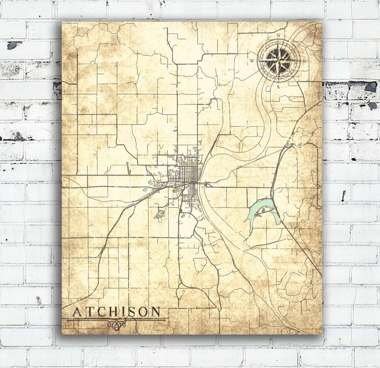 ATCHISON KS Canvas Print Kansas Vintage map Town Plan City | Etsy