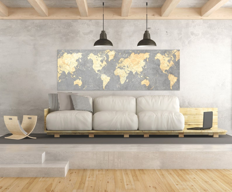 WORLD MAP Canvas Print Vintage Gray Ivory Cream Neutral World Map Panoramic  Extra Large Long Wall Art Vintage Oversized huge wall art poster