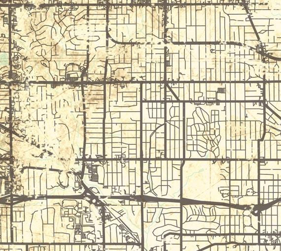 DES MOINES IA Canvas Print Iowa Ia Vintage map Des Moines Iowa Vintage Wall  Art map poster retro antique vintage cream beige ivory gift map