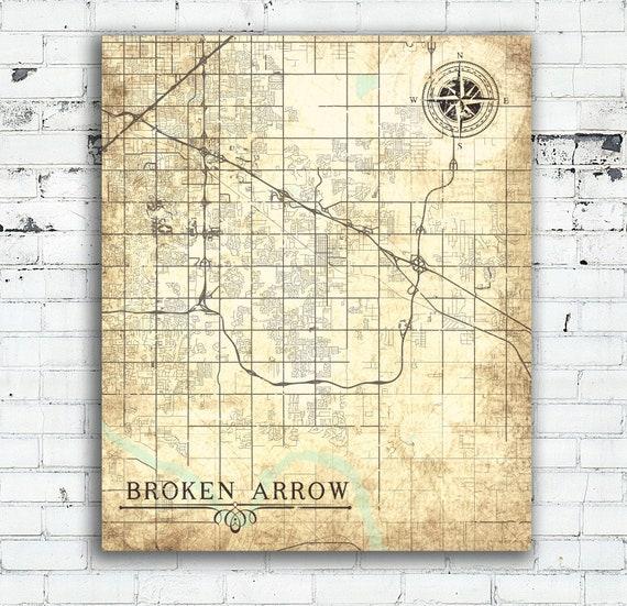 BROKEN ARROW OK Canvas print Oklahoma Vintage map Town City Ok | Etsy