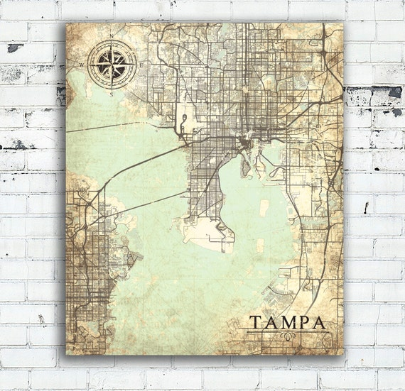Map Of Tampa Bay Florida.Tampa Fl Canvas Print Florida Tampa Fl Vintage Map Tampa Fl City Florida Vintage Wall Art Bedroom Art Poster Retro Old Wall Art Map Gift