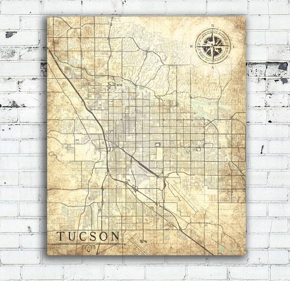 TUCSON AZ Canvas Print Az Arizona Vintage map Tucson Az City | Etsy