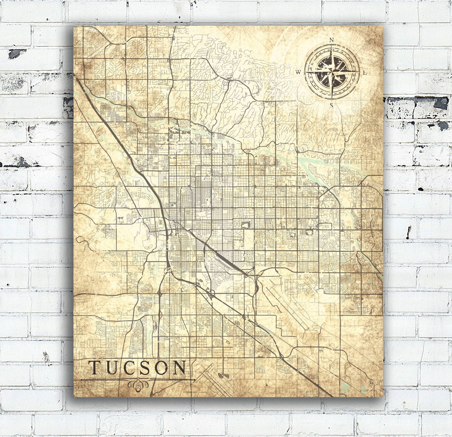 graphic relating to Printable Map of Tucson Az identify TUCSON AZ Canvas Print Az Arizona Basic map Tucson Az Town