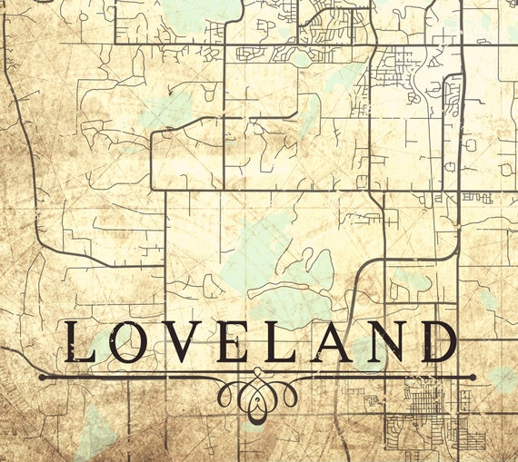LOVELAND CO Canvas Print Loveland Co Colorado Town City Plan Vintage map  Love Land Gift Wall Art poster retro old map Romantic gift print