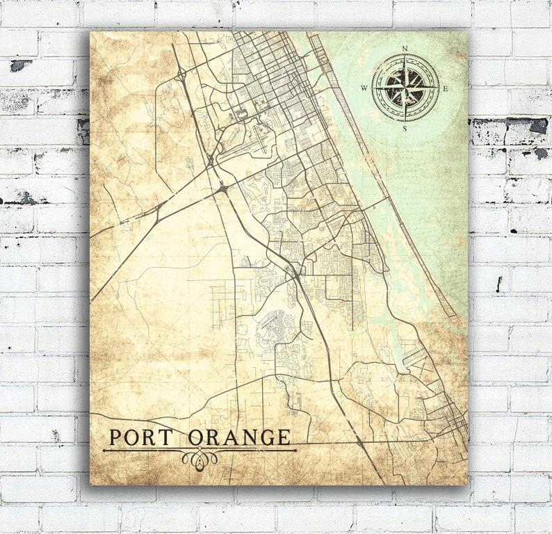 Port Orange Fl Canvas Print Florida Fl Vintage Map City Map Etsy
