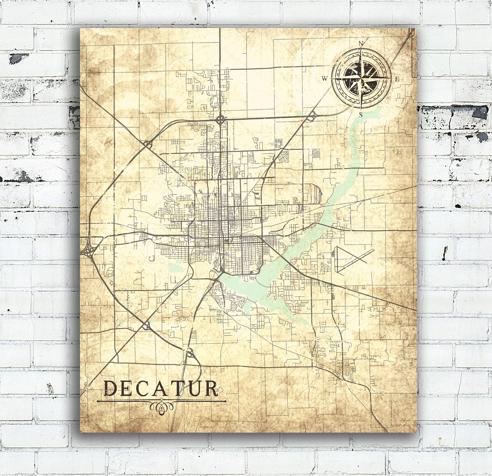 DECATUR IL Canvas Print Illinois Il Vintage map Wall Art map poster on