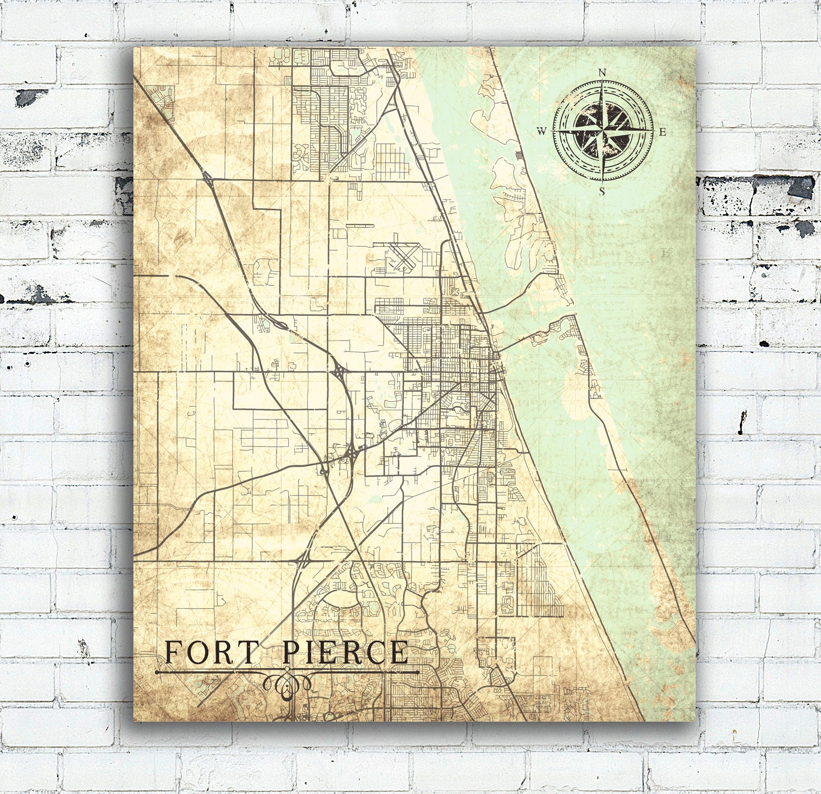 Full Map Of Florida.Fort Pierce Fl Canvas Print Florida Fl Vintage Map City Map Florida