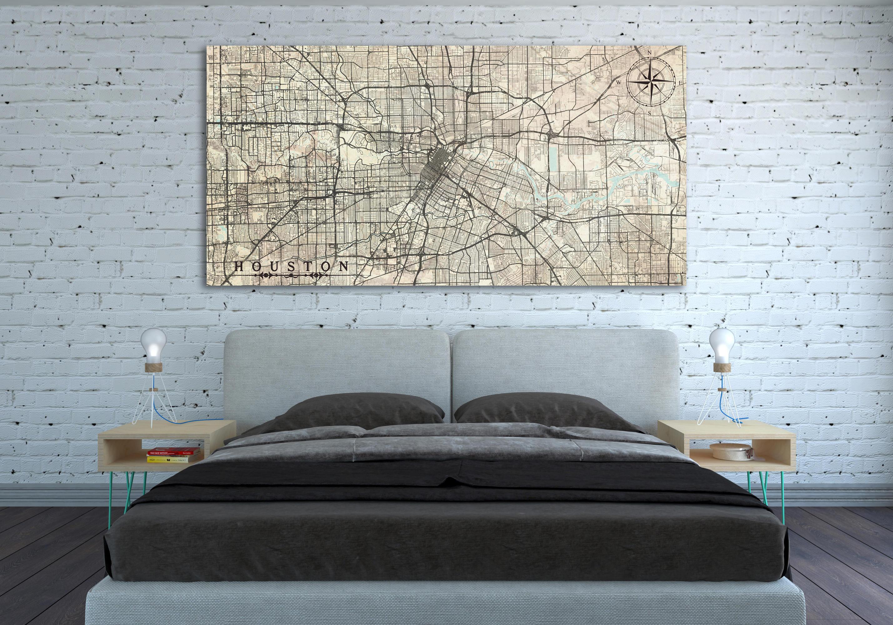 HOUSTON TX Canvas Print Houston Texas Tx Huge Vintage map City ...