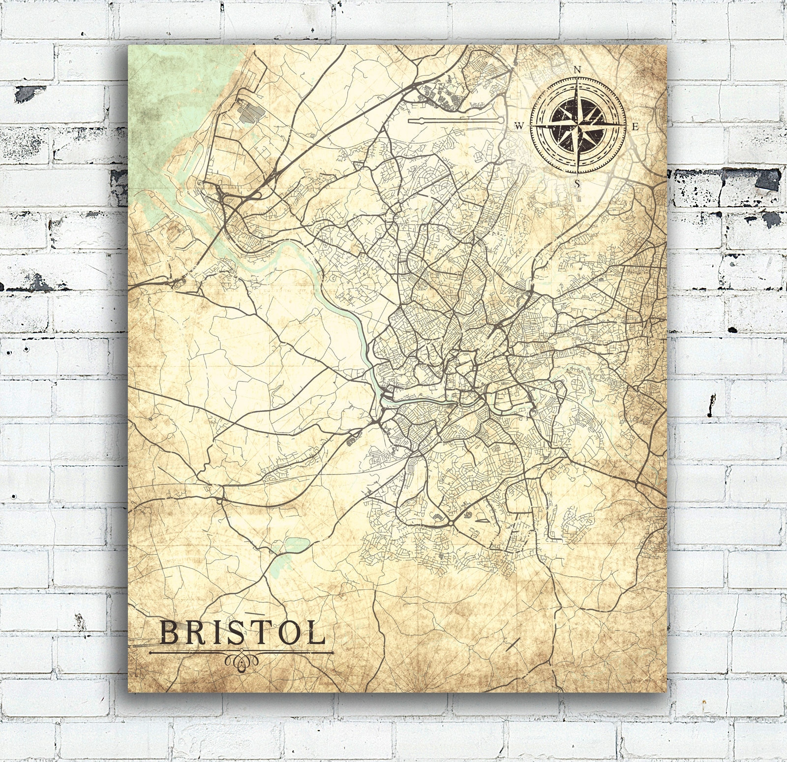Map Of England Vintage.Bristol Uk Canvas Print England Vintage City Map Gb United Etsy