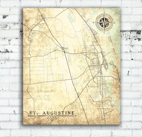 Map Of St Augustine Florida.St Augustine Canvas Print Florida Fl Vintage Map St Augustine Etsy