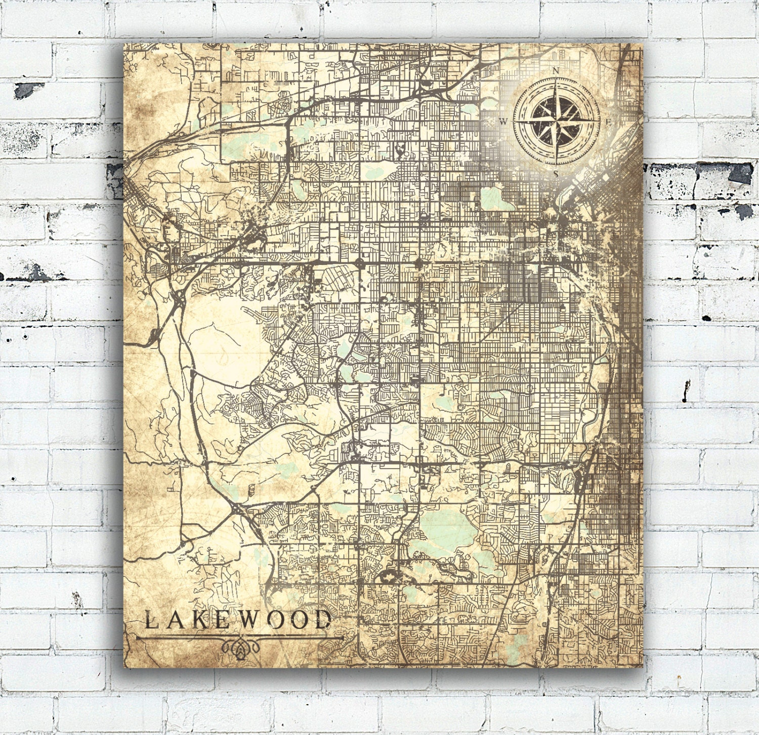 LAKEWOOD CO Canvas Print Colorado Lakewood Co City Vintage map ...