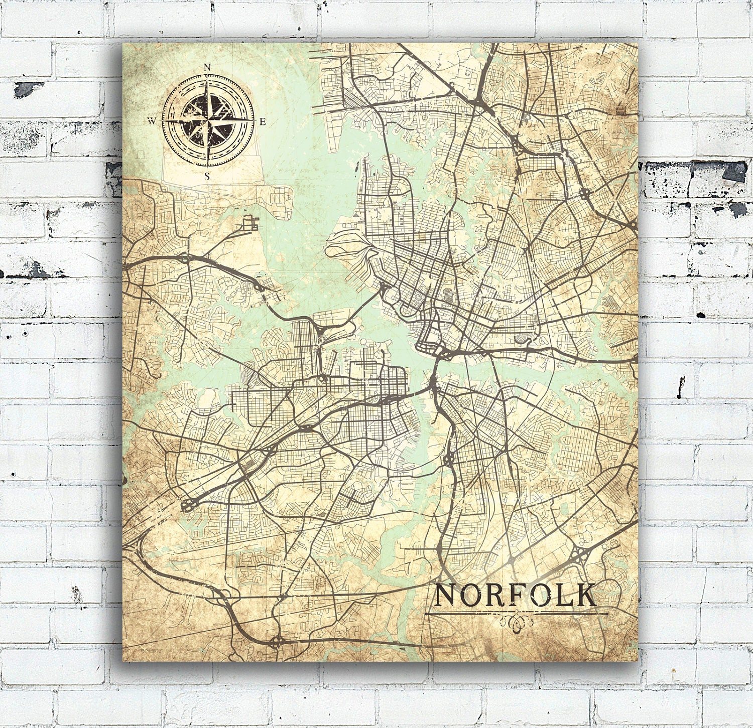 NORFOLK VA Canvas Print VA Norfolk Va Town Plan Virginia Vintage map ...