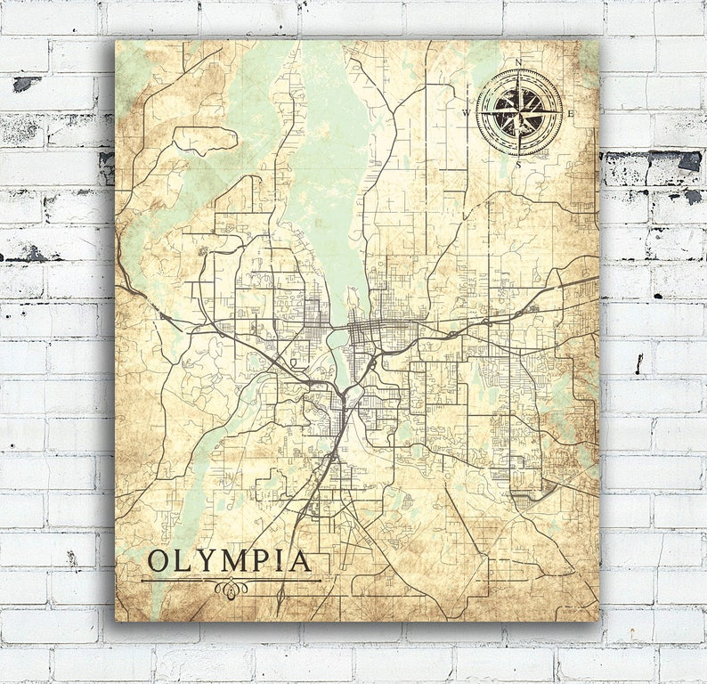 OLYMPIA WA Canvas Print Washington state Vintage map Olympia Wa City  Vintage map Wall Art poster antique vintage home design old gift map