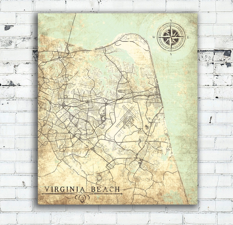 Virginia Beach Canvas Print Va Virginia Beach Vintage Map Etsy