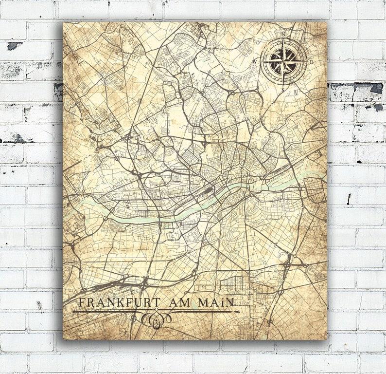 Frankfurt Karte Europa.Frankfurt Bin Main Leinwand Karte Deutschland Vintage Karte Frankfurt Am Main Stadt Vintage Karte Wandkunst Plakat Retro Alte Geschenk Reise Karte