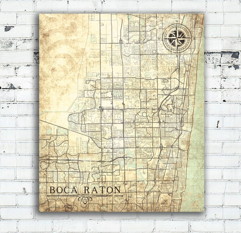 Map Of Florida Showing Boca Raton.Boca Raton Fl Canvas Print Florida Vintage Map City Map Town Plan Vintage Wall Art Gift Map Poster Retro Antique Old Map Home Office Decor