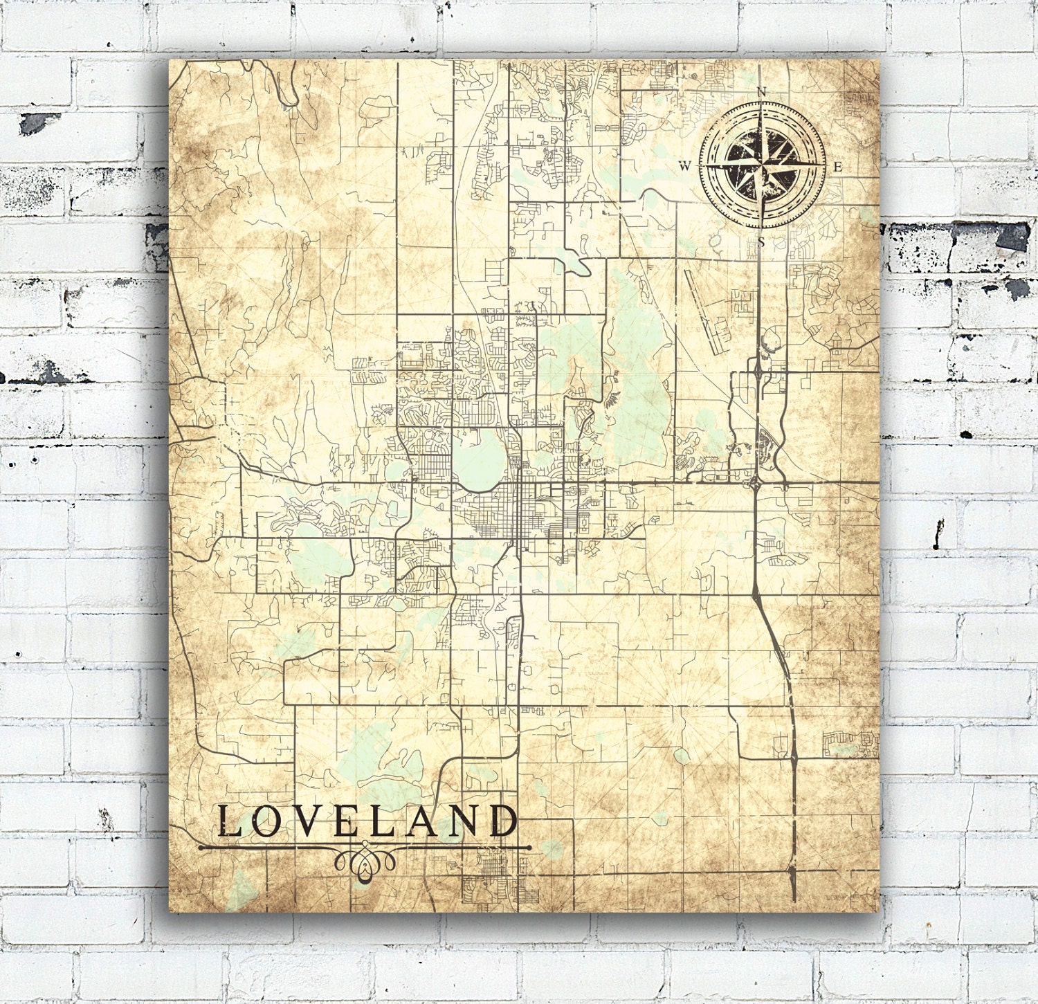 LOVELAND CO Canvas Print Loveland Co Colorado Town City Plan Vintage ...
