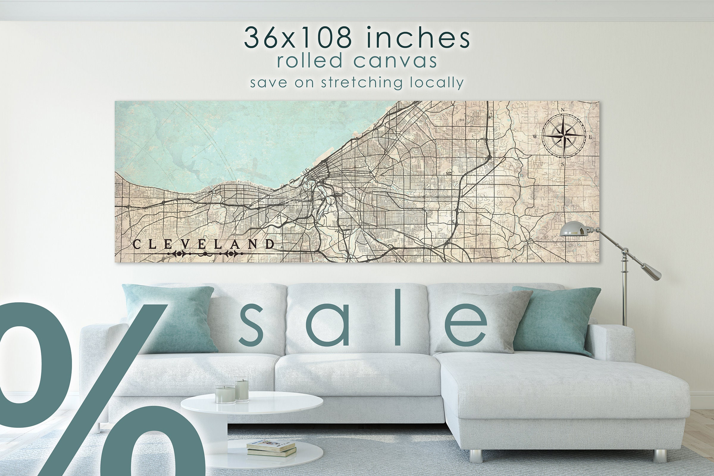 SALE 30% CLEVELAND OH Canvas Print Ohio Vintage map Wall Art ... Full Size Map Of Northeast Ohio on white map of ohio, full screen map of ohio, economy map of ohio, small map of ohio, large map of ohio,