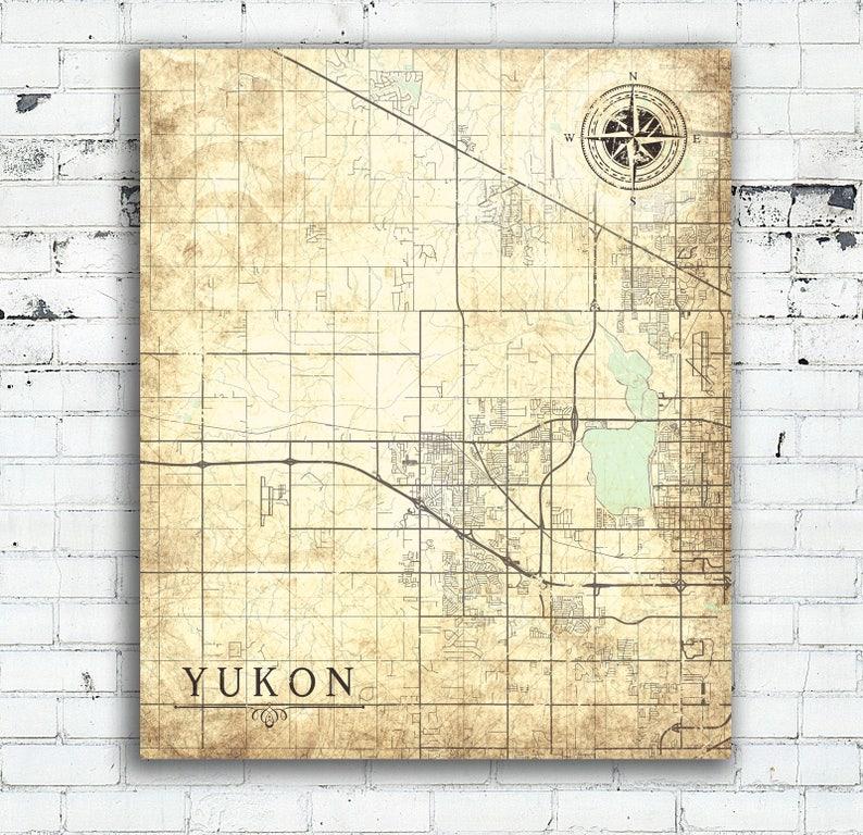 Yukon Ok Canvas Print Oklahoma Vintage Map City Town Plan Etsy