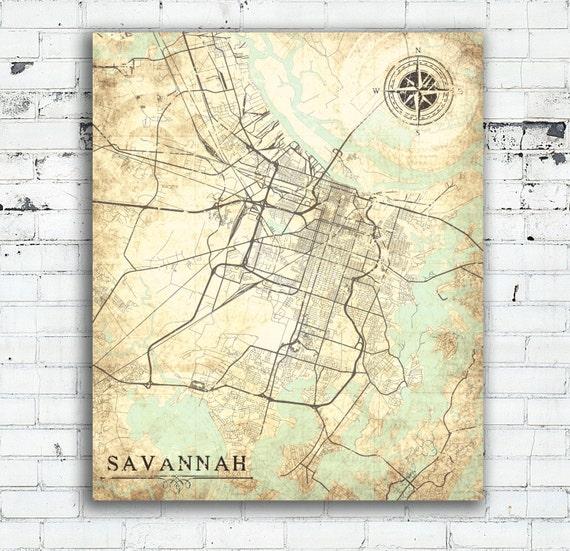 Map Of Old Georgia.Savannah Ga Canvas Print Georgia Vintage Map Savannah Ga City Georgia Vintage Map Wall Art Print Poster Map Retro Old Antique Map Gift Map