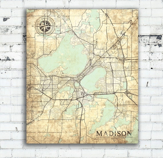 MADISON WI Canvas Print Wisconsin WI Vintage map Madison Wi | Etsy