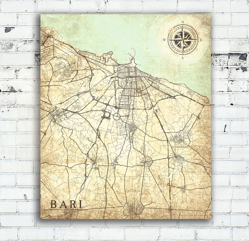 Bari Canvas Print Italy Vintage Map Bari City Italy Vintage Etsy