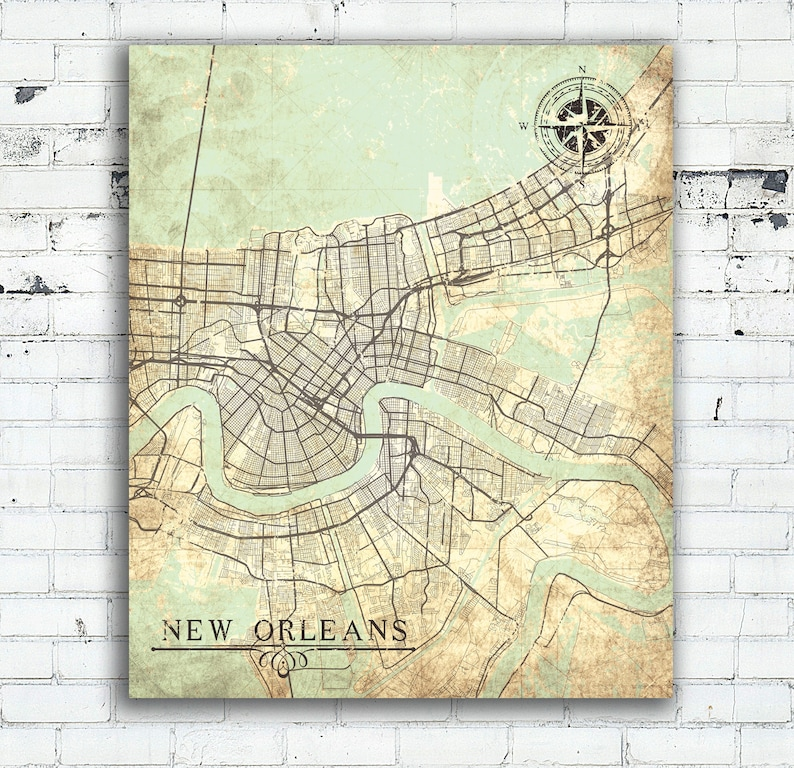 graphic about Printable Map of New Orleans referred to as Fresh new ORLEANS LA Canvas Print Louisiana La Common map Refreshing Orleans La Metropolis Classic map Wall Artwork Print poster Nola retro outdated reward concept wall artwork
