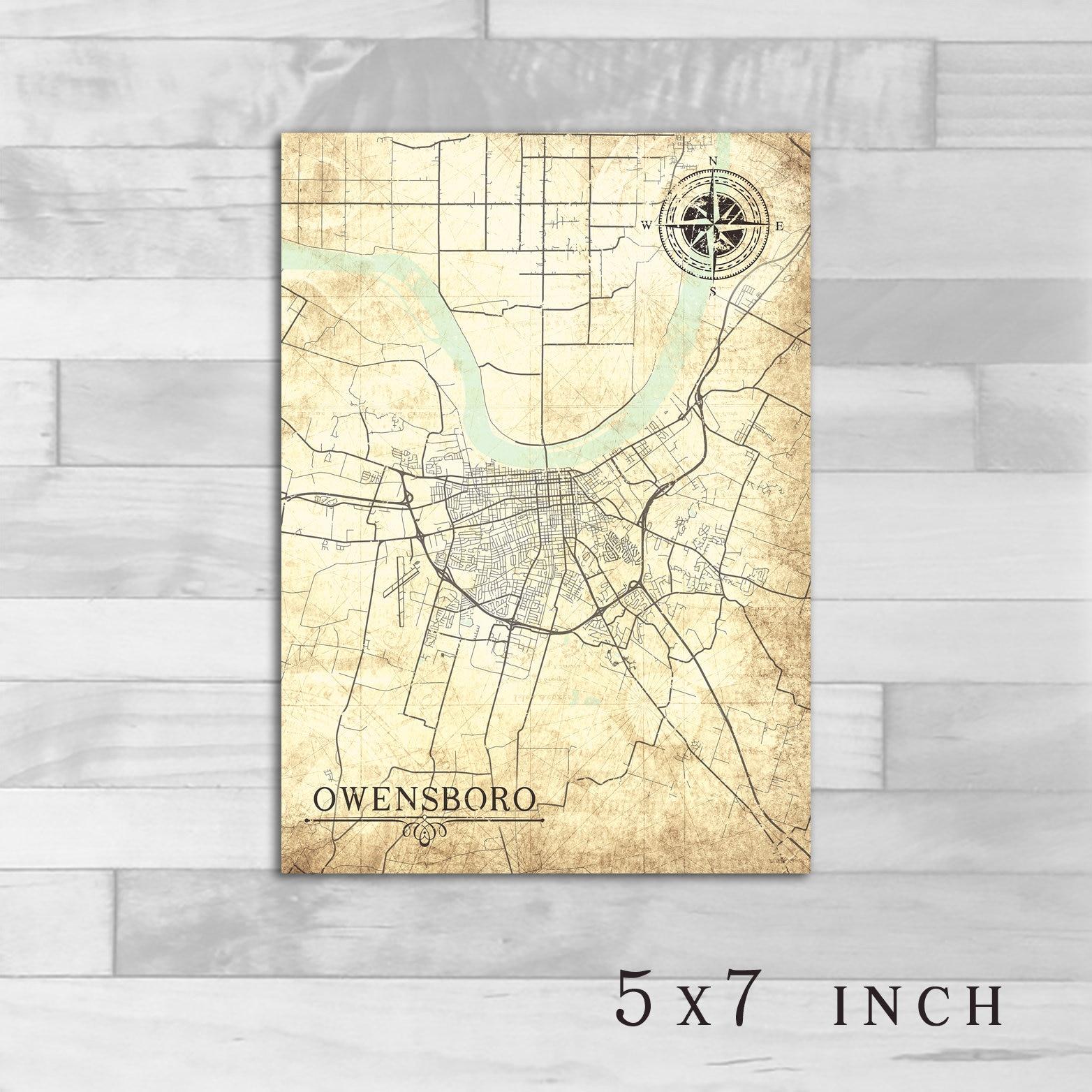 OWENSBORO KY Canvas Print Kentucky City Vintage map Wall Art poster ...