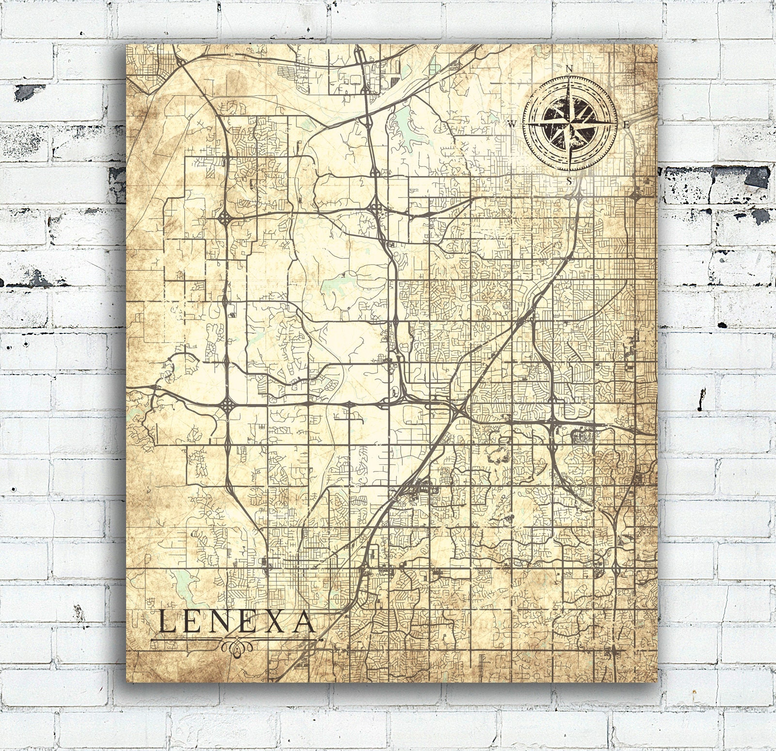 Lenexa Kansas Map.Lenexa Ks Canvas Print Kansas Town City Vintage Map Vintage Map Wall