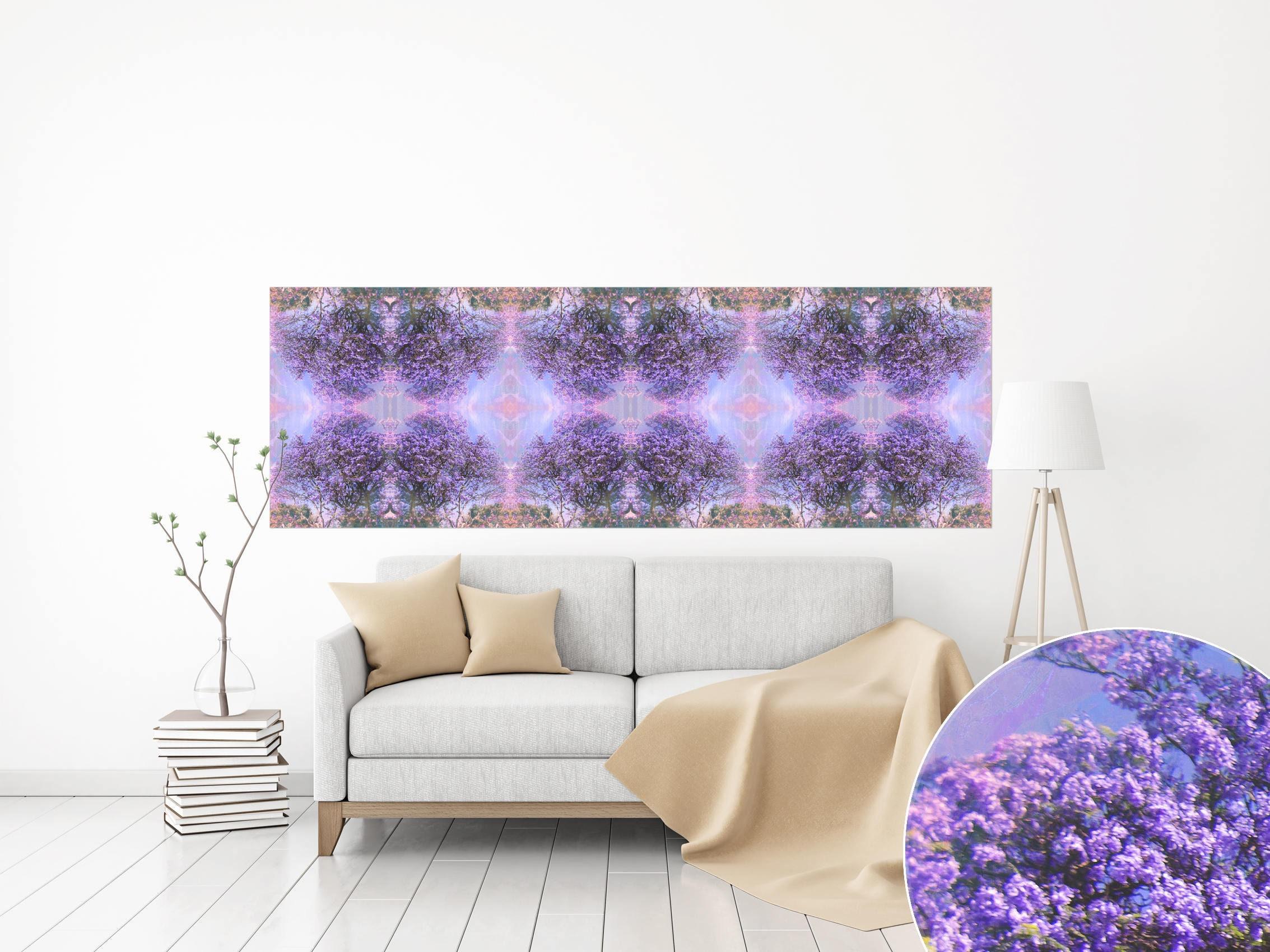 CANVAS PRINT Panoramic Horizontal Wall Art Lilac Purple Art Pattern Wall Art  Ultra Violet Pantone Wall Art Poster Long Ultra Violet Wall Art