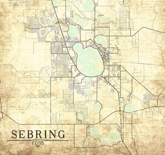 Sebring Florida Map.Sebring Fl Canvas Print Florida Fl Vintage Map City Map Etsy