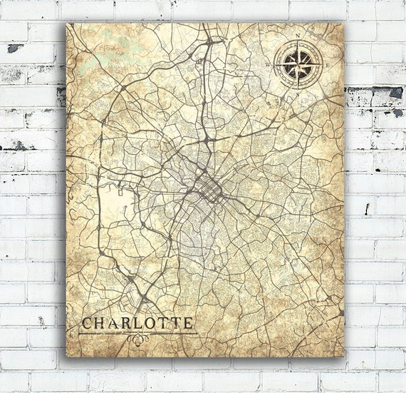 CHARLOTTE NC Canvas Print North Carolina Vintage map Charlotte nc Vintage  map City Wall Art poster Vintage retro map gift for all home decor