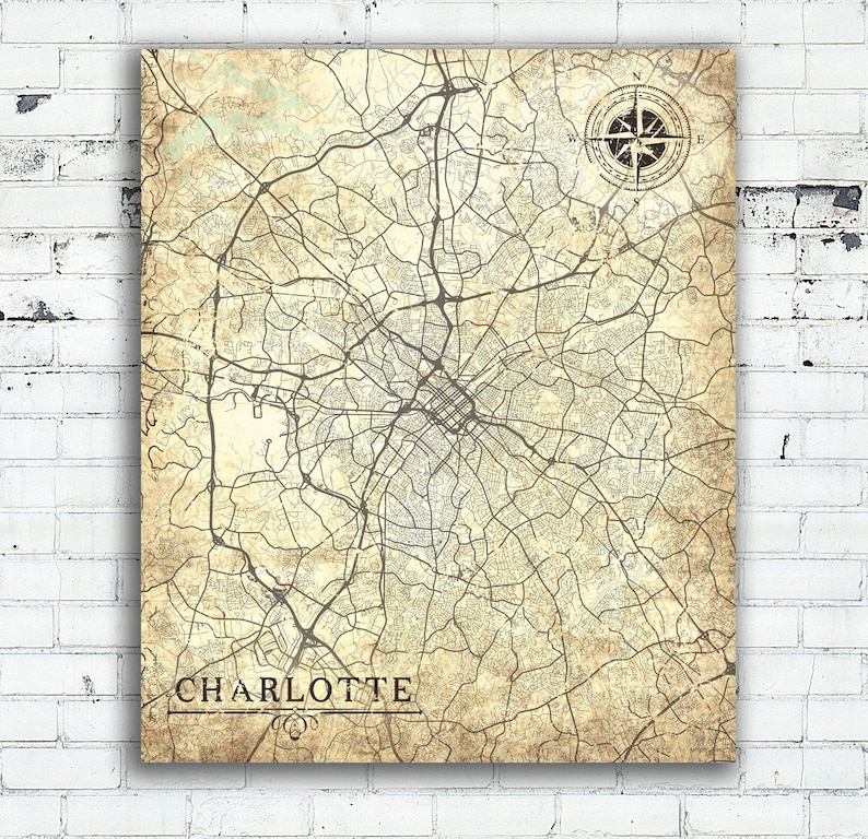 CHARLOTTE NC Canvas Print North Carolina Vintage map Charlotte nc Vintage  map City Wall Art poster Vintage retro map gift for all home decor
