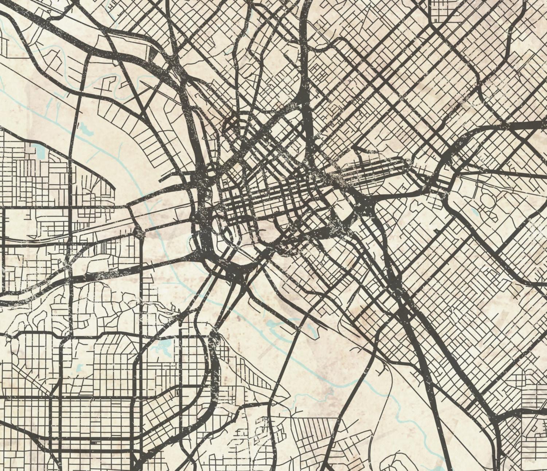 DALLAS TX Canvas Print Dallas Texas Tx Vintage Map Dallas