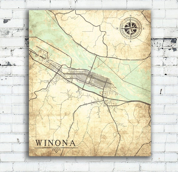 Winona Mn Canvas Print Minnesota Mn Town City Plan Vintage Map Etsy