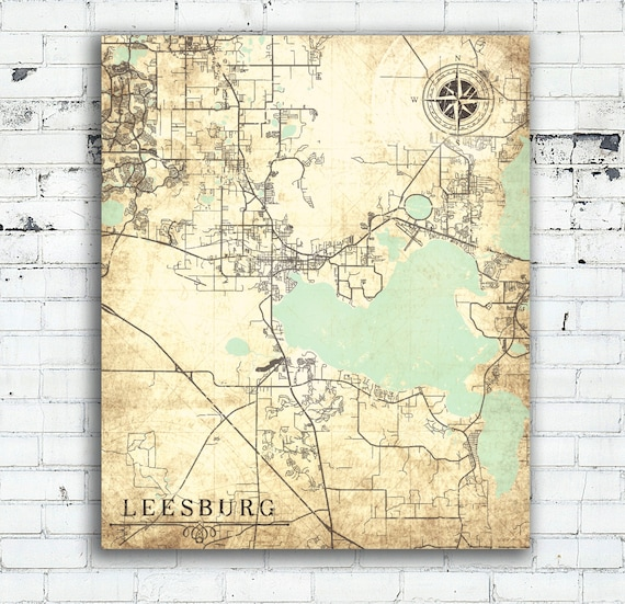 Leesburg Florida Map.Leesburg Fl Canvas Print Florida Fl Vintage Map City Town Plan Etsy