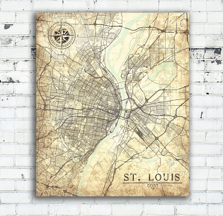 ST. LOUIS Canvas Print MO Missouri Vintage Map St Louis
