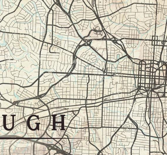 GREENSBORO NC Canvas Print North Carolina Vintage map | Etsy