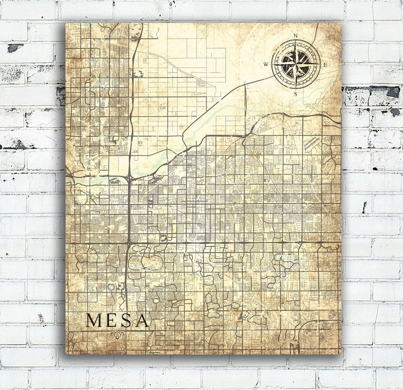 MESA AZ Canvas Print Arizona Vintage map Mesa Az City Vintage map Wall Art  City poster Vintage retro old home decor gift map wedding gift
