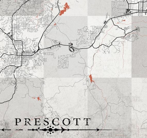 Prescott Az Canvas Print Arizona Vintage Map Prescott Az City Etsy