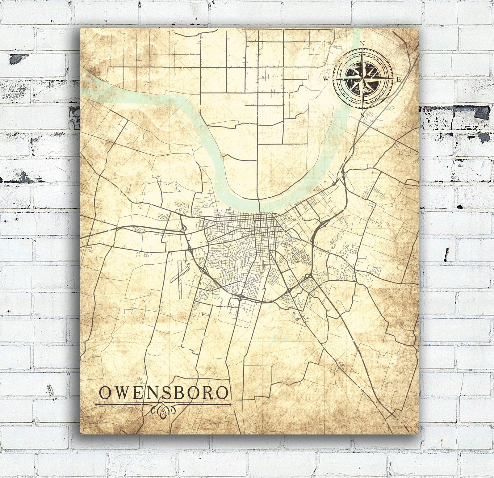 OWENSBORO KY Canvas Print Kentucky City Vintage map Wall Art poster ...