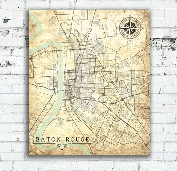 BATON ROUGE LA Canvas Print Louisiana City Vintage map Baton | Etsy