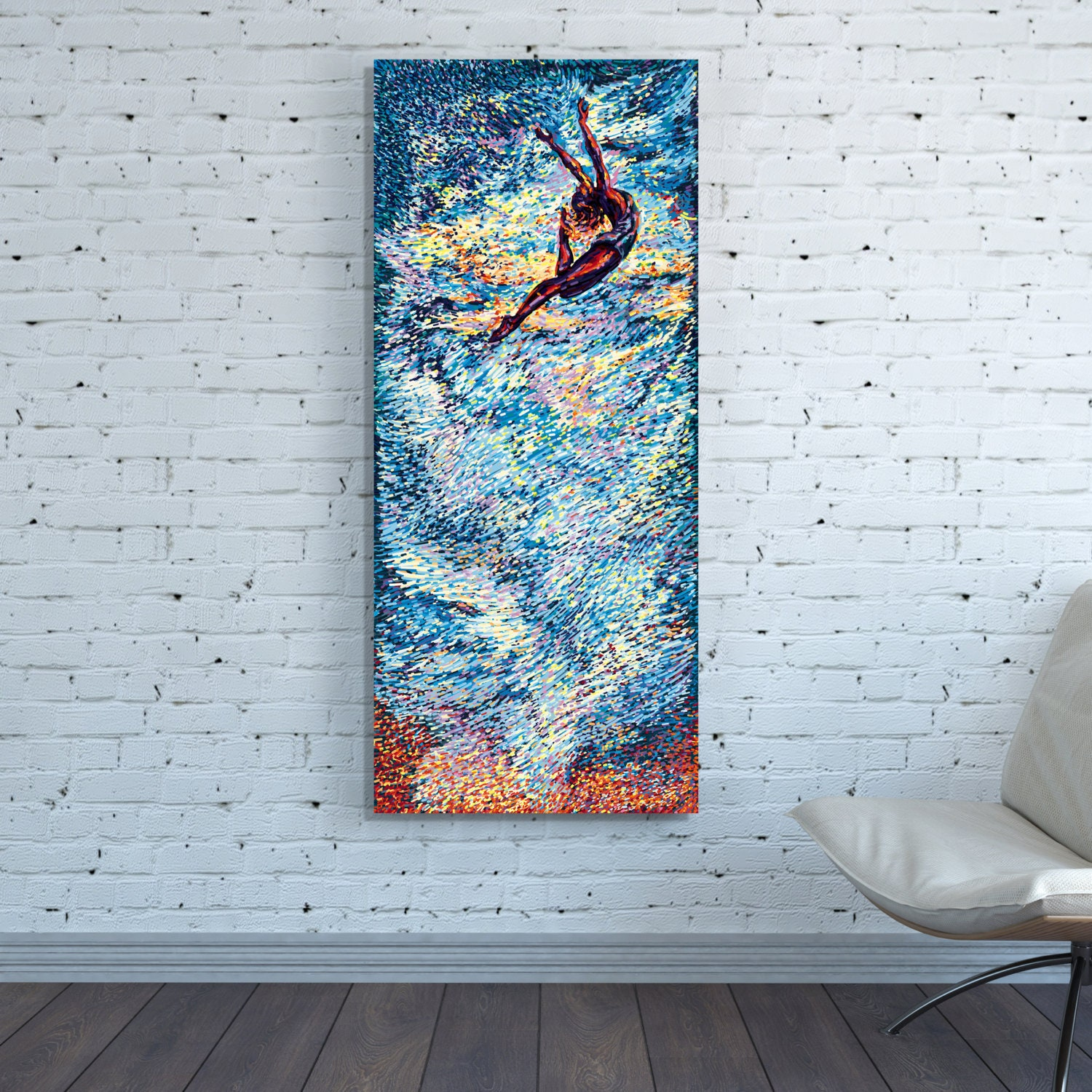 canvas print art vertical huge large blue abstract wall art long narrow painting oversized sky. Black Bedroom Furniture Sets. Home Design Ideas