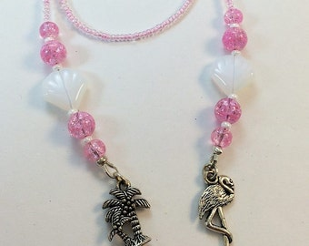 Flamingo Bookmark, Beaded Pink Bookmark, Flamingo  Book Thong, Beaded Bookmark, Beach Bookmark