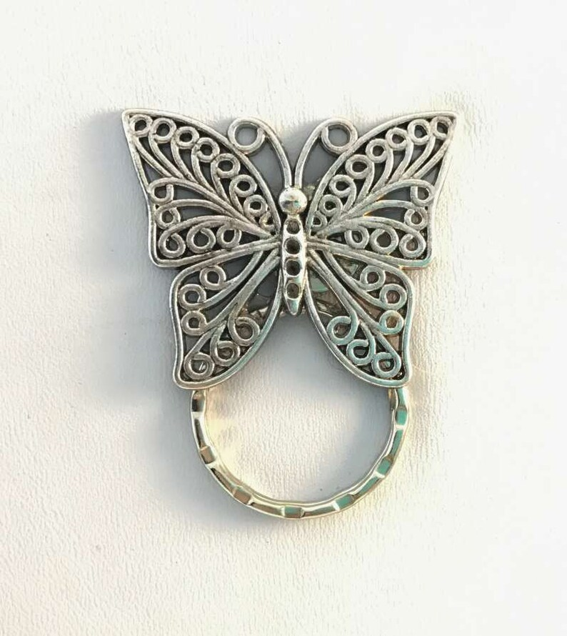 Butterfly with Flowers Magnetic Metal Eyeglass ID Badge Holder