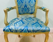 Accent chair Indian Silk Blue and Gold Damask Fabric Gold Carved Frame Hollywood regency Victorian style french chair amelierococo custom