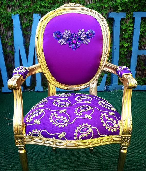 Super Accent Chair Purple And Gold Carved Frame Full Of Details Fancy Work Handmade Custom French Chairs Amelierococo Machost Co Dining Chair Design Ideas Machostcouk
