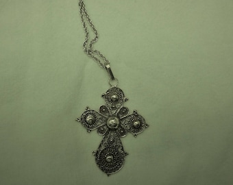 Intricately  filigreed sterling silver cross on a large sterling silver French rope chain